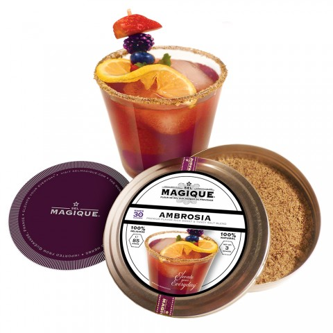 Ambrosia Cocktail with Fleur de Sel and Spice Rim