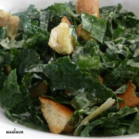 Christina Hendricks Tuscan Kale Caesar Salad featuring Sel Magique Gourmet Salt Blends