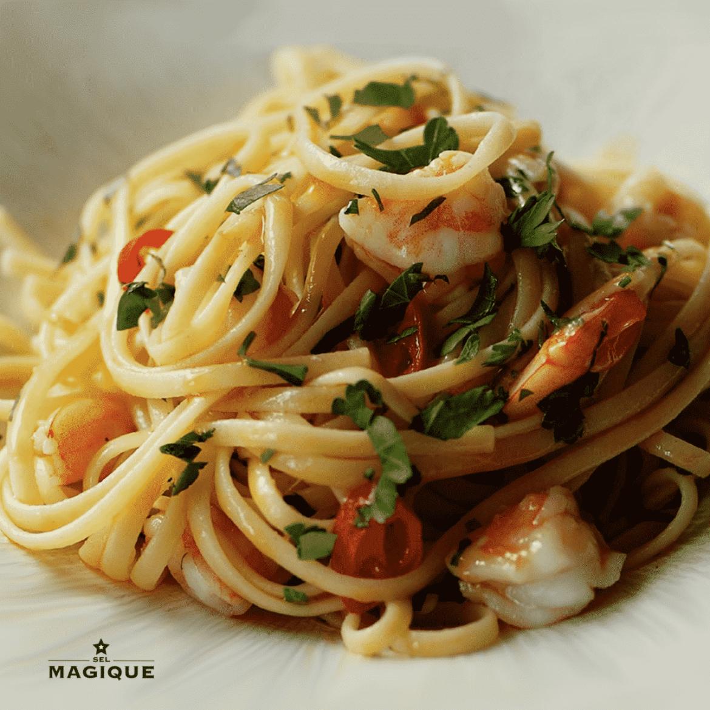linquini_shrimp_prawns_lemon_parsley_sel_magique_quick_recipe