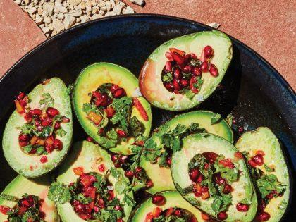 Avocado Cups with Pomegranate Salsa Verde