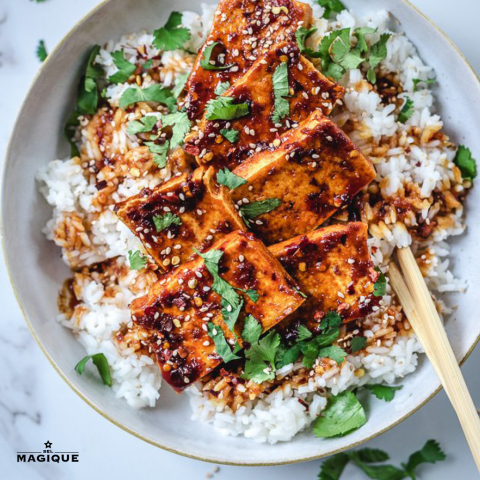 crispy pan fried garlic sesame tofu