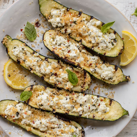 GRILLED ZUCCHINI WITH HERBED GOAT CHEESE